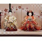 檜垣に花の丸文様立雛セット