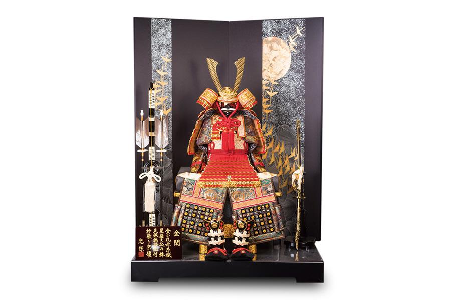 鶴に月波正絹鎧